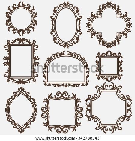black vintage frame design. Set Of Black Vintage Frames, Various Shapes Frame Design
