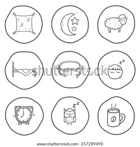 Set of black-white hand drawn icons on sleep theme for your design - stock vector