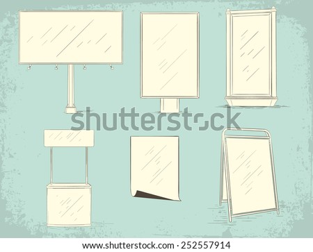 Set of blank advertising areas - stock vector