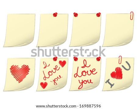 set of blank and valentines day notes