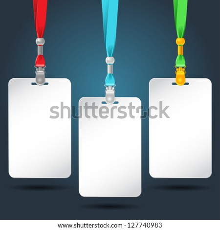 Set of blank badges with color neckbands.