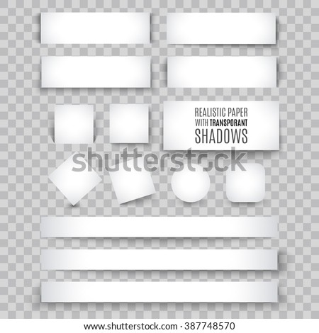 Set of blank banner sheet of paper with shadow. Vector illustration for tag design. Book page isolated on background. Blank list template. Border and frame mock up paper with transparent shadows - stock vector