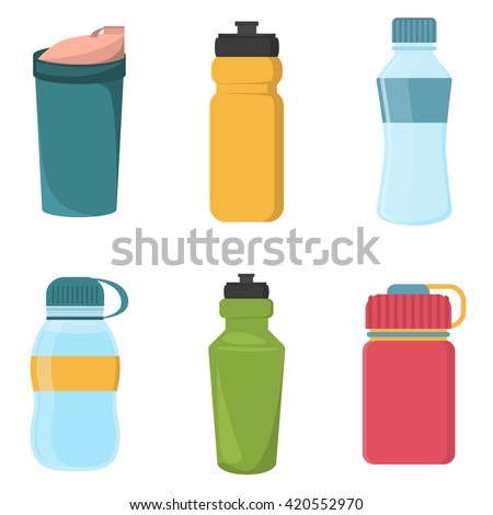 Set of blank bicycle plastic bottles for water - stock vector