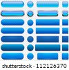 Set of blank blue buttons for website or app. Vector eps10. - stock vector