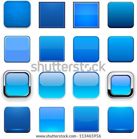 Set of blank blue square buttons for website or app. Vector eps10.