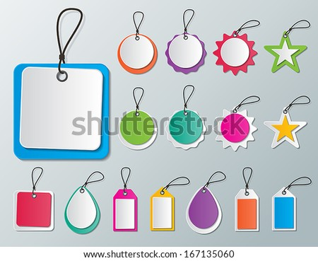 set of blank colored paper tags and labels with strings. vector. - stock vector