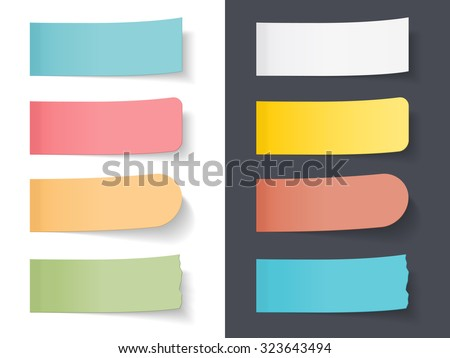Set of blank colored sticky papers, vector eps10 illustration - stock vector