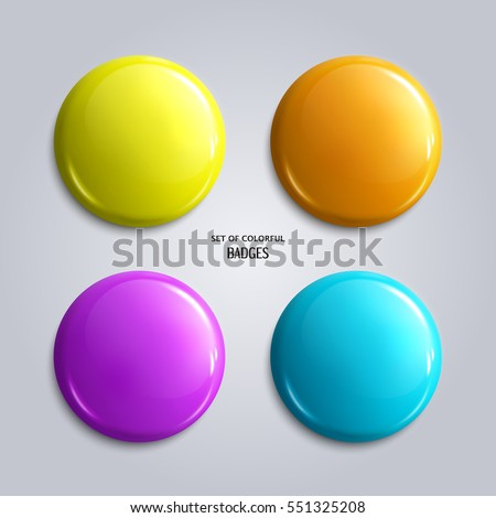Set of blank, colorful glossy badges or web buttons. Four bright colors, yellow, orange, blue and purple. Vector.