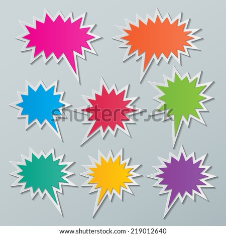 set of blank colorful paper starburst speech bubbles. vector - stock vector