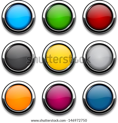 Set of blank colorful round buttons for website or app. Vector eps10. - stock vector
