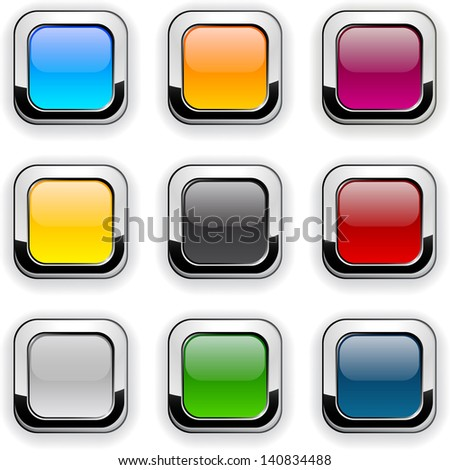 Set of blank colorful square buttons for website or app. Vector eps10. - stock vector