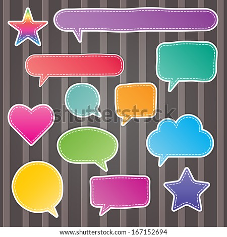 set of blank colorful stitch speech bubbles on stripes background. vector.