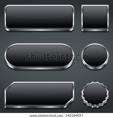 Set of blank dark buttons, vector eps10 illustration