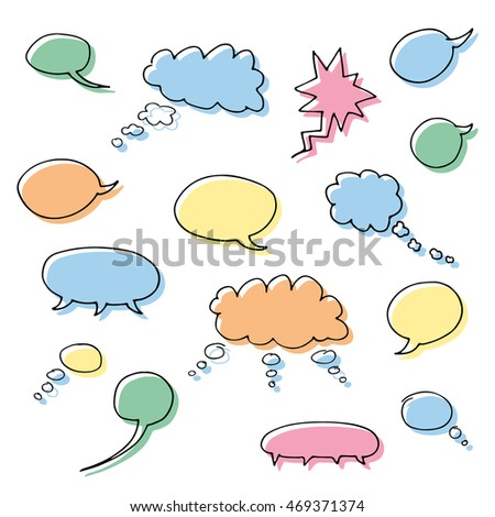 Set of blank empty colorful cartoon vector speech and thought communication bubbles. Isolated. outline. hand drawn.  doodle sketch.