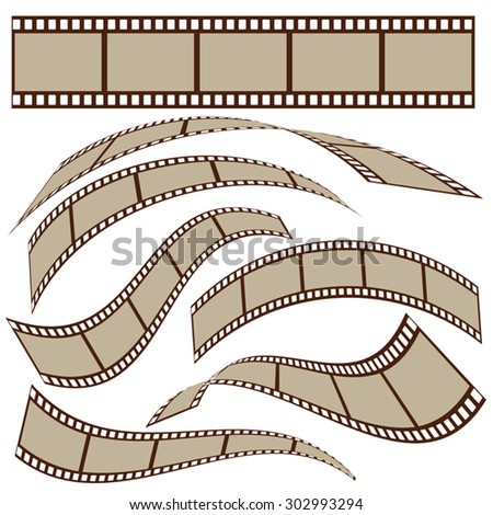 Set of blank film strip frames with different shape. Vector illustration - stock vector