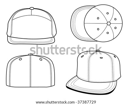 Set of 4 blank hats that can be used as mockups or templates. You can place your design and personalize those hats. - stock vector