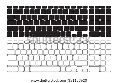 Set of Blank Keyboards with Numberpad - Isolated Illustration
