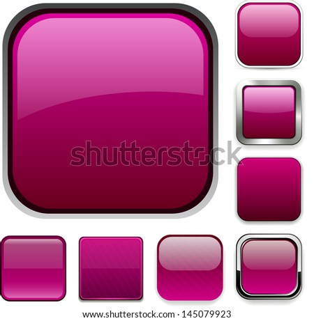Set of blank magenta square buttons for website or app. Vector eps10.