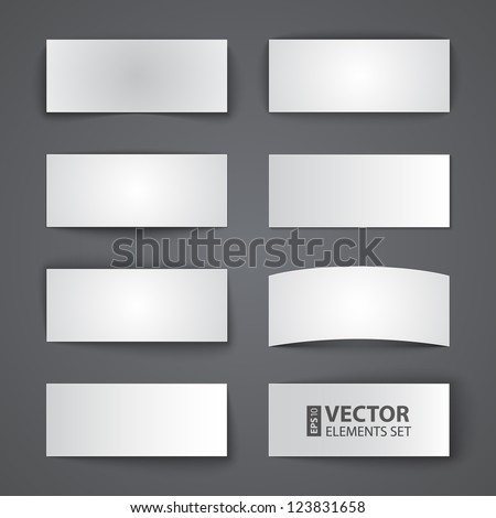 Set of blank paper banners with shadows on gray background. RGB EPS 10 vector illustration - stock vector