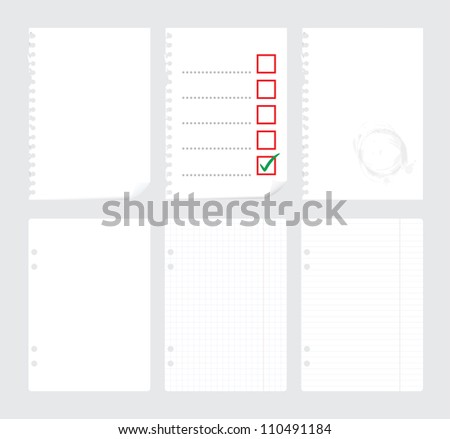 set of blank paper sheets - illustration - stock vector