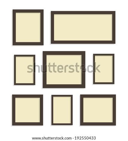 Set Blank Picture Frames On White Stock Vector 192550433 - Shutterstock