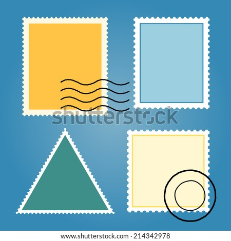 Set Of Blank Postage Stamps - stock vector