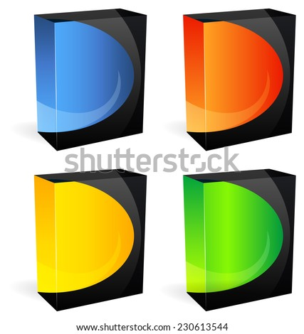 Set of Blank Product Boxes - Illustration - stock vector