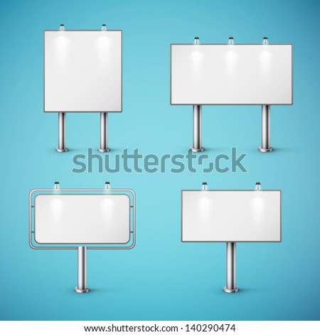 set of blank realistic billboards eps10 vector illustration - stock vector