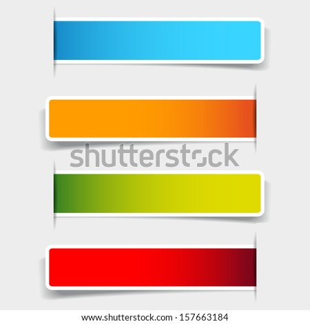 Set of blank rectangle labels with rounded corners - stock vector