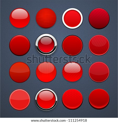 Set of blank red round buttons for website or app. Vector eps10.
