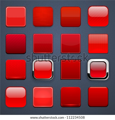 Set of blank red square buttons for website or app. Vector eps10. - stock vector