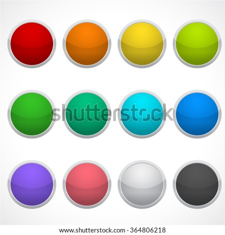 Set of blank round icons in different colors. Stickers, buttons