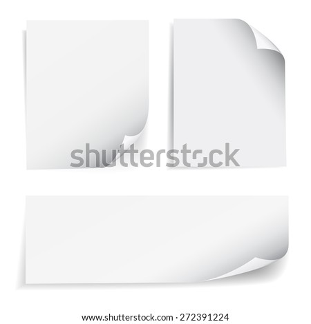 Set of blank sheet of paper with page curl and shadow effect, design element for advertising and promotional message isolated on white background. EPS 10 vector illustration. - stock vector