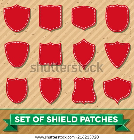 Set of blank shield shaped stitched patches - stock vector