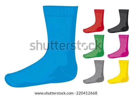 set of blank socks (socks collection) - stock vector