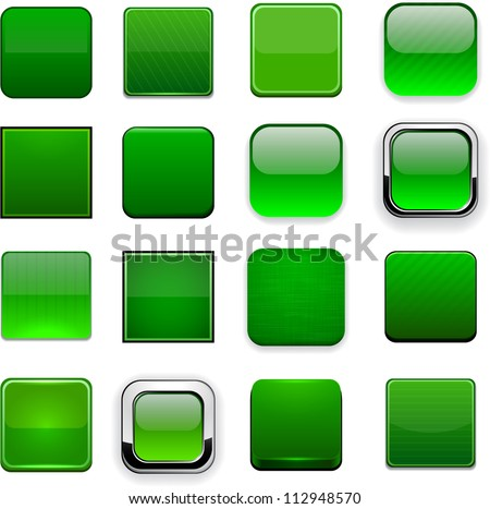 Set of blank square green buttons for website or app. Vector eps10.