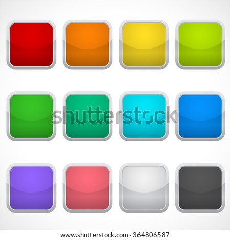 Set of blank square icons in different colors. Stickers, buttons