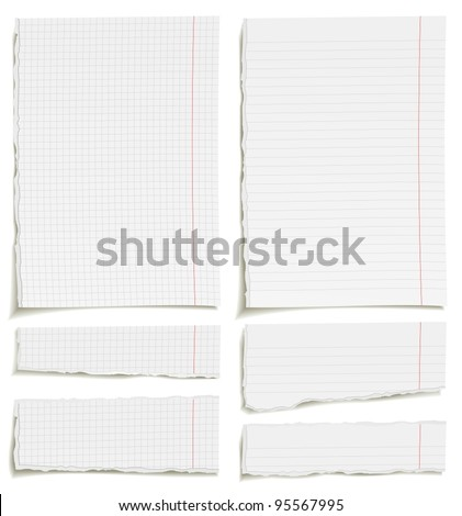 Set of blank squared and lined paper sheets or notepad pages - stock vector