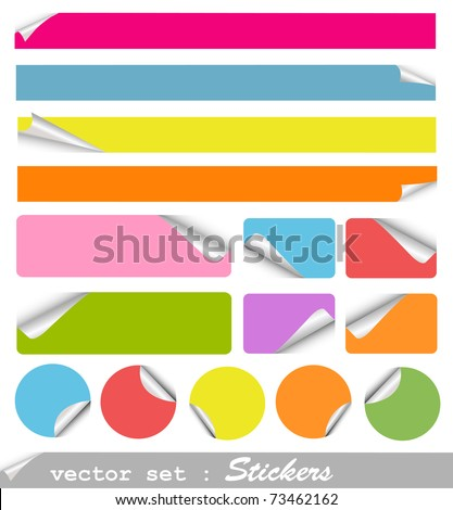set of blank stickers - stock vector