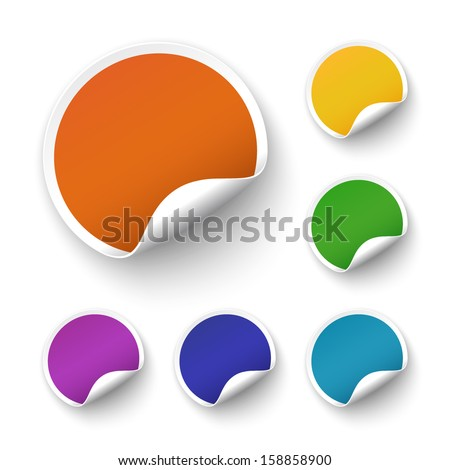 Set of blank stickers. Promotional labels. Vector illustration - stock vector