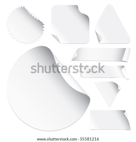 Set Of Blank Stickers (vector). In the gallery also available XXL jpeg version of this image. - stock vector