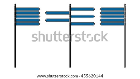Set of blank street signs, isolated on white background. EPS10 vector illustration.