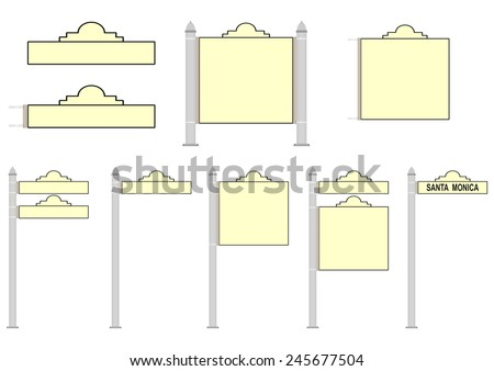 Set of blank street signs on a white background. Vector - stock vector