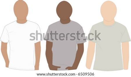 Set of blank tee-shirts on mannequins ready to add designs. Easily edit and change the colors. - stock vector
