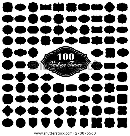 Set of 100 blank vintage frame - stock vector