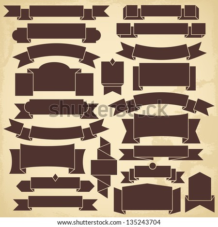 Set of blank vintage ribbons for design - stock vector
