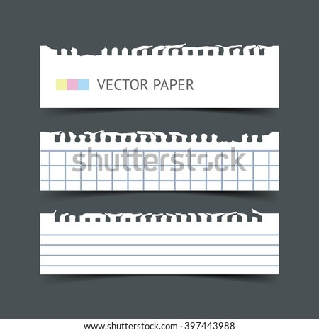 Set of blank white blank notepaper horizontal web banners with shadow isolated on dark background. Paper sheets for design. Realistic vector torn notepaper sheets. - stock vector