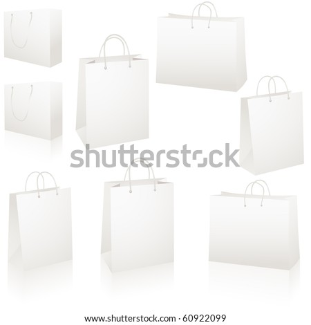Set of blank white paper shopping bags vector - stock vector