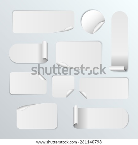 Set Of Blank white paper stickers on white background. Round, square and rectangular stickers. Vector illustration - stock vector