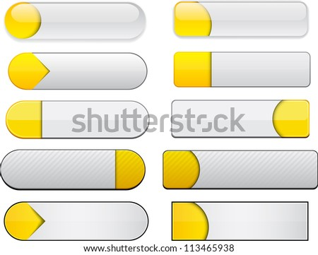 Set of blank yellow and white buttons for website or app. Vector eps10. - stock vector